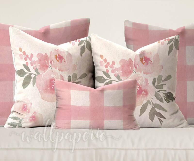 Pastel Pink Floral & Gingham Pillows