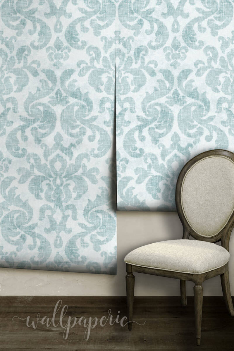 Ikat Damask | Spa Blue